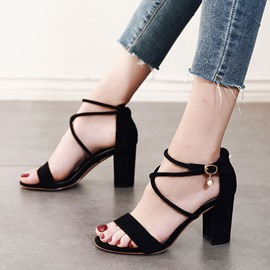 Ericdress Hasp Heel Covering Open Toe Chunky Sandals