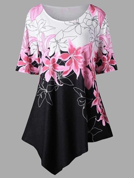 Ericdress Women's Loose Floral Asymmetric Sleeve T Shirt