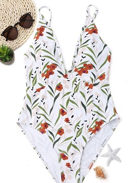 Ericdress V Neck White Floral One Piece Bathing Suits