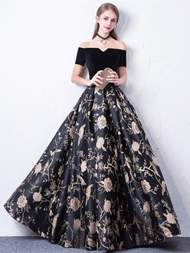 Ericdress Off-The-Shoulder Short Sleeves Print Evening Dress