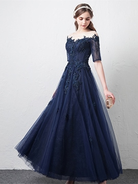 Ericdress A Line Short Sleeve Lace Evening Dress