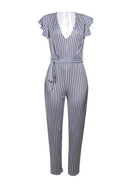 Ericdress Stripe Ruffles Lace-Up Women's Jumpsuit