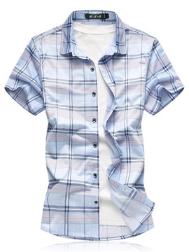 Ericdress Color Block Plaid Mens Plus Size Loose Shirts