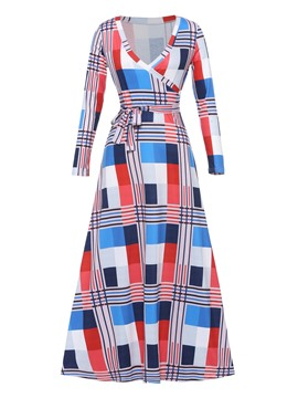 Ericdress V-Neck Print Pullover Expansion Maxi Dress