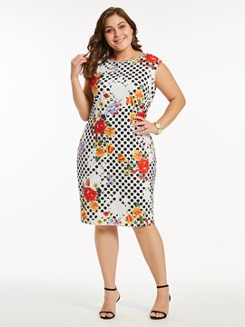 Ericdress Polka Dots Floral Plusee Bodycon Dress