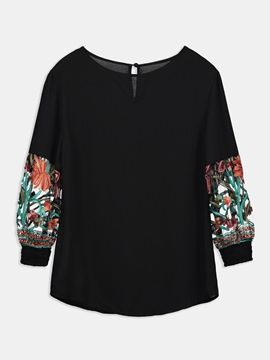 Ericdress Women's Mesh Embroidery Long Sleeve Blouse