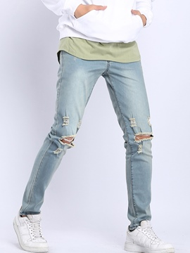 Ericdress Pencil Pants Hole Plain Mid Waist Men's Jeans