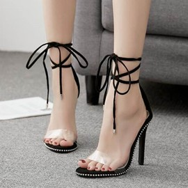 Ericdress Lace-Up Patchwork Heel Covering PVC Sandals