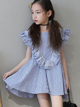 Ericdress Stripe Cap Sleeve A-Line Pullover Girl's Casual Dress