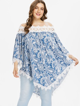 Ericdress Women's Off Shoulder Floral Lace Plus-Size T Shirt