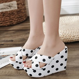 Ericdress Polka Dot Platform Print Wedge Heel Mules Shoes