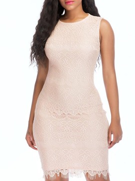 Ericdress Light Apricot Sleeveless Pullover Lace Bodycon Dress
