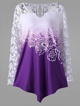Ericdress Lace Print Patchwork Tunic Womens T Shirt