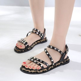 Ericdress Rivet Strappy Leopard Flat Sandals