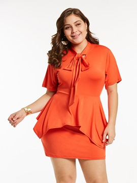 Ericdress Orange Bow Collar Ruffles Patchwork Bowknot Bodycon Dress