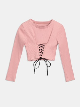V-Neck Hole Lace-Up Women's T-Shirt