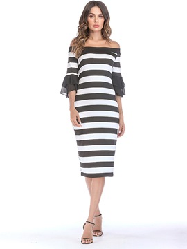 Ericdress Flare Sleeve Off Shoulder Stripe Patchwork Bodycon Dress