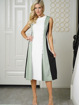 Ericdress White Color Block Patchwork Button A-Line Dress