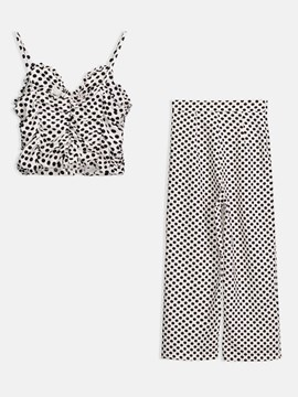 Polka Dots Cami Top with Pants Women's Suit