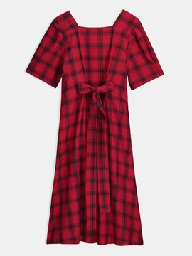 Square Neck Bowknot Casual Day Dress