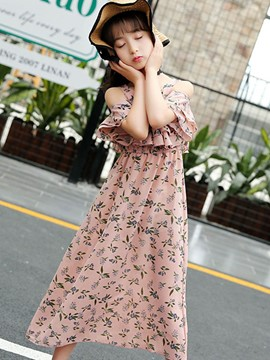 Ericdress Floral Print A-Line Girl's Chiffon Casual Dress
