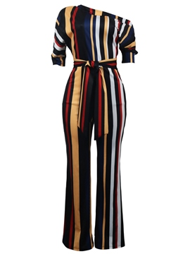 Ericdress Stripe Asymmetric Lace-Up Women's Jumpsuit