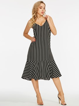 V-Neck Backless Stripe Sexy Dress