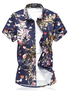 Ericdress Floral Printed Plus Size Mens Beach Short Sleeve Shirts