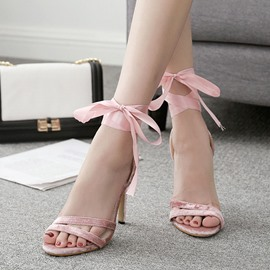 Ericdress Patchwork Lace-Up Ankle Strap Stiletto Sandals