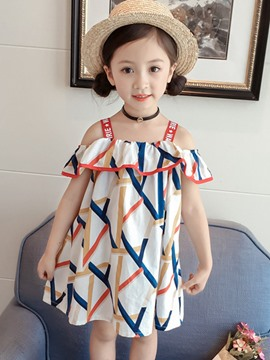 Ericdress Spaghetti Strap A-Line Print Girl's Dress