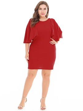 Ericdress Batwing Sleeve Patchwork Pullover Bodycon Dress