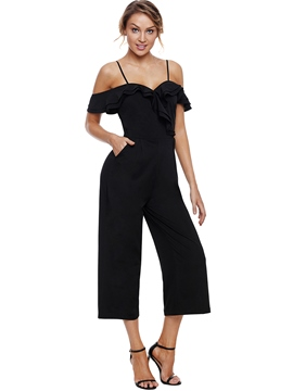 Ericdress Plain Wide Leg Stripe Women's Jumpsuit