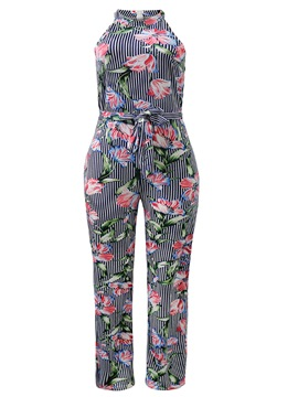 Ericdress Stripe Floral Women's Jumpsuit