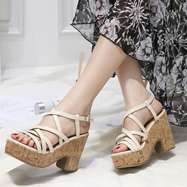 Ericdress Strappy Platform Open Toe Chunky Sandals