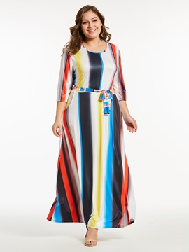 Ericdress Stripe Color Block Pocket Lace-Up Maxi Dress