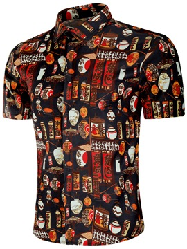 Ericdress Printed Japanese Style Slim Fit Mens Shirts
