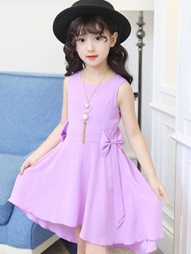 Ericdress Plain Asymmetrical Bowknot Girl's Chiffon Dress