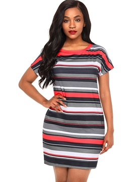 Ericdress Red Stripe Above Knee Casual Dress