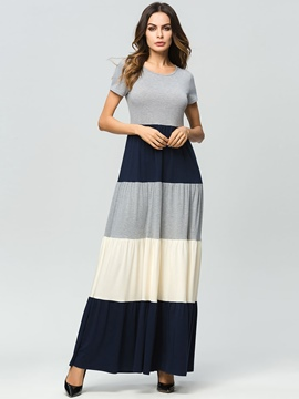 Ericdress Gray Color Block Patchwork Pullover Maxi Dress