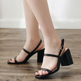 Ericdress Hasp Strappy Plain Open Toe Chunky Sandals