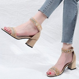 Ericdress Fringe Heel Covering Chunky Sandals