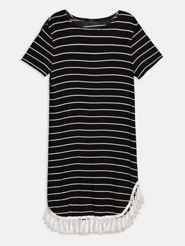 Ericdress Stripe Tassel Patchwork Simple Casual Dress