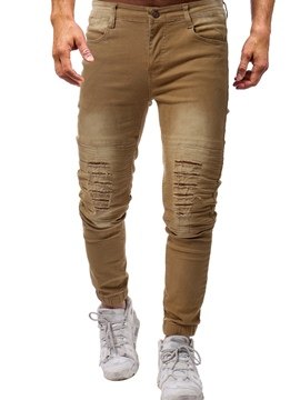 Ericdress Wron Slim Mens Ripped Pencil Pants