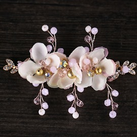 Ericdress Hand Made Flower Crystal Hair Clip
