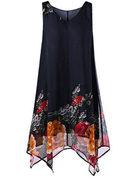 Ericdress Navy Floral V-Neck Asymmetric Plusee Casual Dress