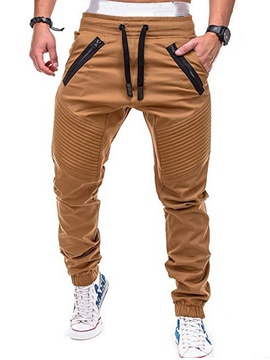 Ericdress Plain Straight Thin Lace Up Mens Casual Pants