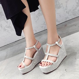 Ericdress Sequin Platform StrappyBuckle Wedge Sandals