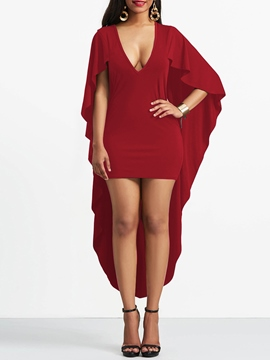 Ericdress V-Neck Asymmetrical Batwing Sleeve Bodycon Dress