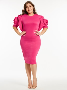 Ericdress Rose Ruffles Appliques Patchwork Bodycon Dress