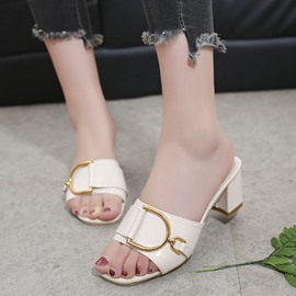 Ericdress Buckle Slip-On Flip Flop Chunky Heel Mules Shoes